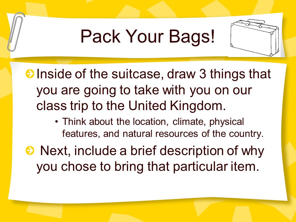 Pack Your Bags! Inside of the suitcase, draw 3 things that you are going to take with you on our class trip to the United Kingdom. Think about the loc