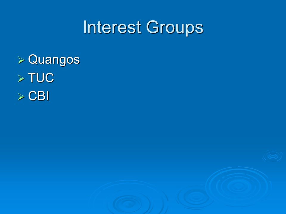 Interest Groups  Quangos  TUC  CBI