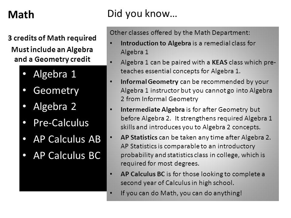 Math Algebra 1 Geometry Algebra 2 Pre-Calculus AP Calculus AB AP Calculus BC 3 credits of Math required Must include an Algebra and a Geometry credit