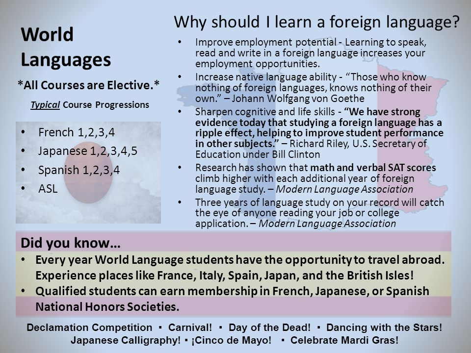 World Languages French 1,2,3,4 Japanese 1,2,3,4,5 Spanish 1,2,3,4 ASL *All Courses are Elective.* Typical Course Progressions Why should I learn a foreign language.
