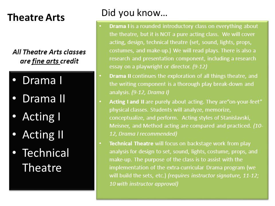 Theatre Arts Drama I Drama II Acting I Acting II Technical Theatre Drama I Drama II Acting I Acting II Technical Theatre All Theatre Arts classes are