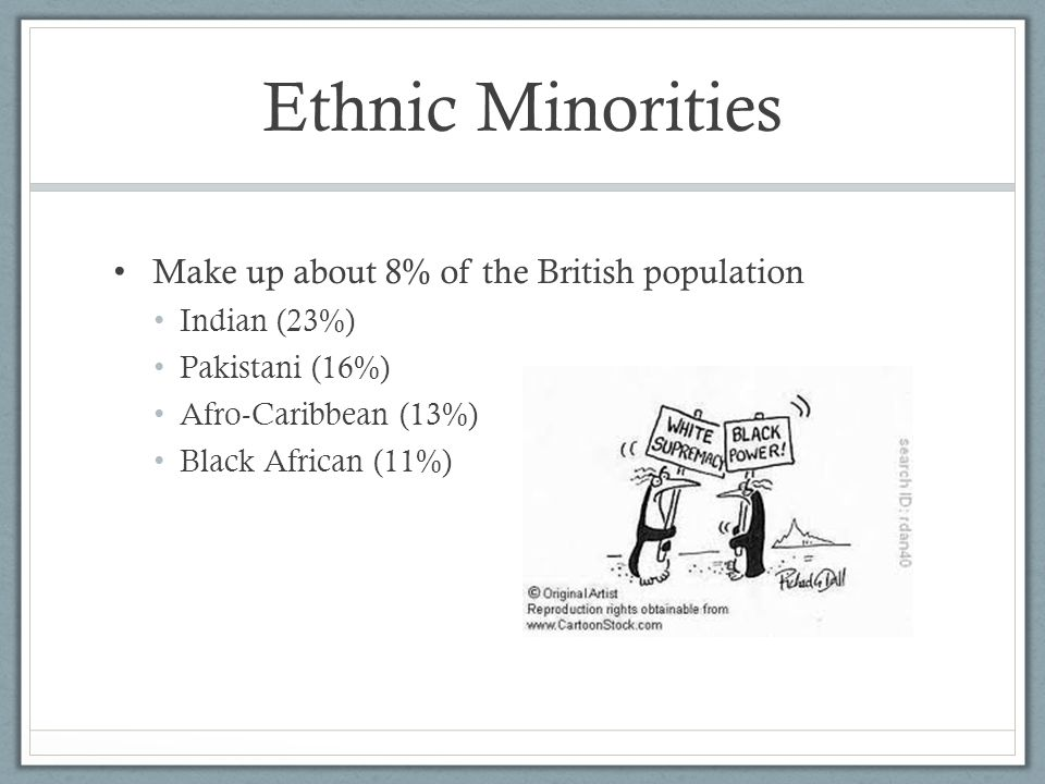 Ethnic Minorities Make up about 8% of the British population Indian (23%) Pakistani (16%) Afro-Caribbean (13%) Black African (11%)