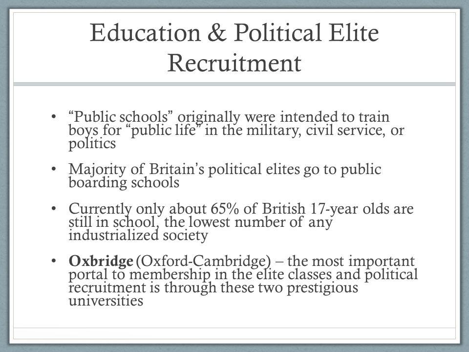 "Education & Political Elite Recruitment "" Public schools "" originally were intended to train boys for "" public life "" in the military, civil service,"