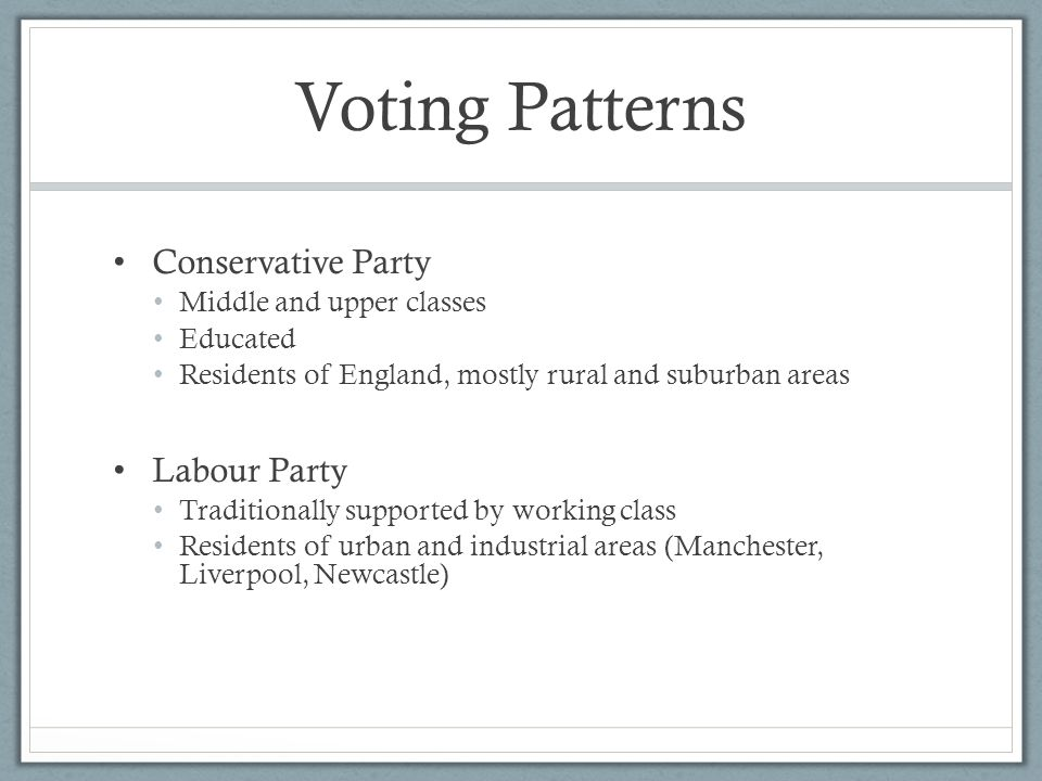 Voting Patterns Conservative Party Middle and upper classes Educated Residents of England, mostly rural and suburban areas Labour Party Traditionally