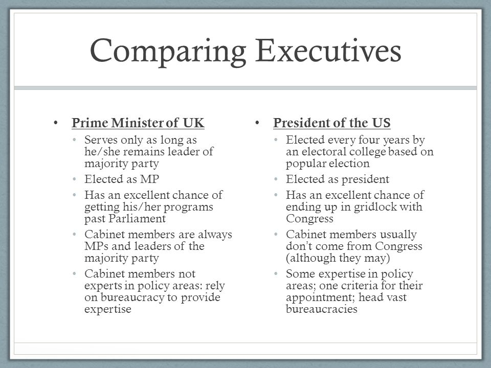 Comparing Executives Prime Minister of UK Serves only as long as he/she remains leader of majority party Elected as MP Has an excellent chance of gett