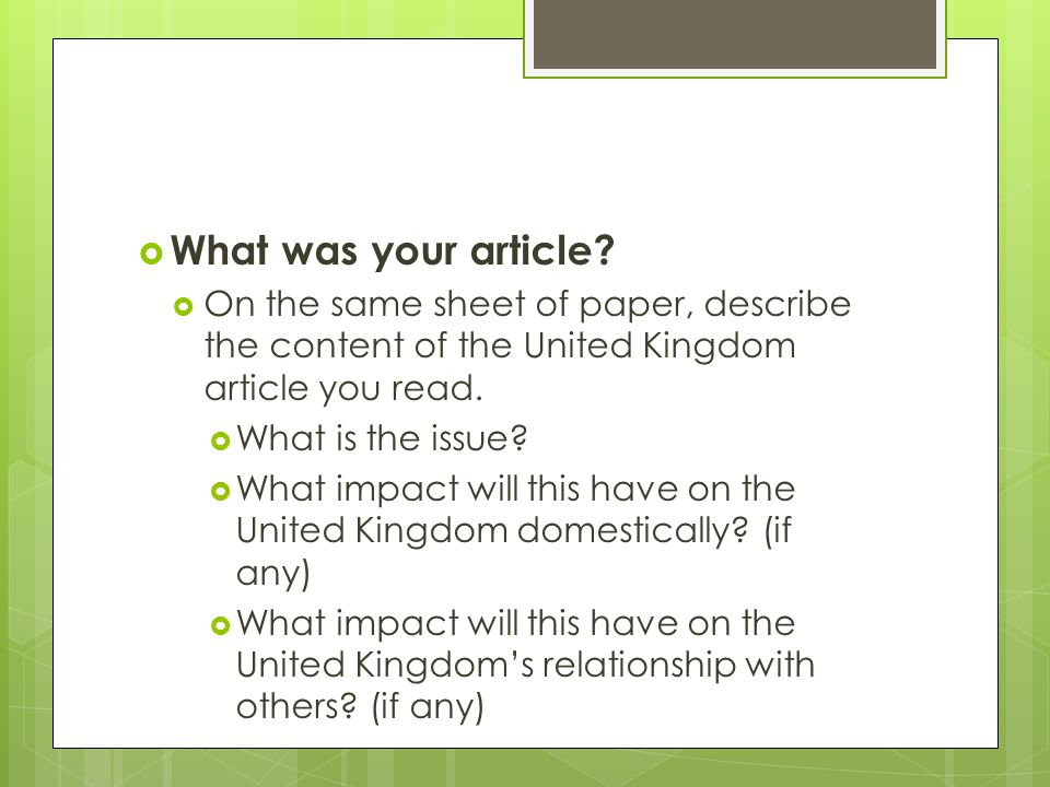  What was your article.