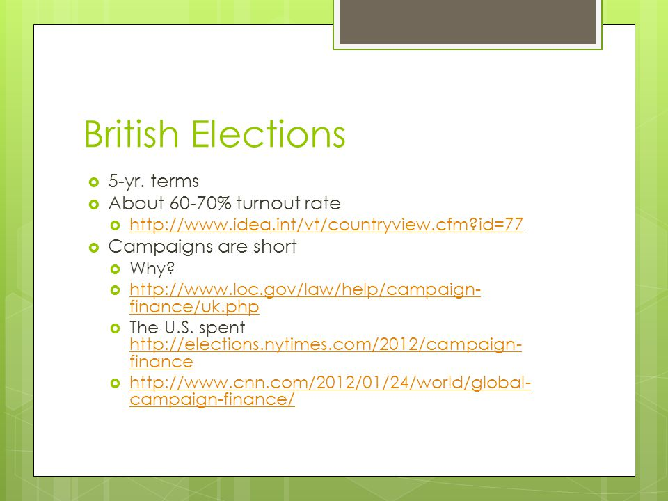 British Elections  5-yr.