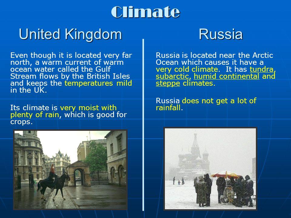United Kingdom Russia Most farmland in the United Kingdom is located in the lowland zone.