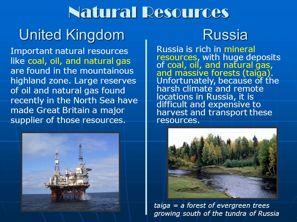 United Kingdom Russia Many Britons work in service industries like banking, insurance, and tourism.