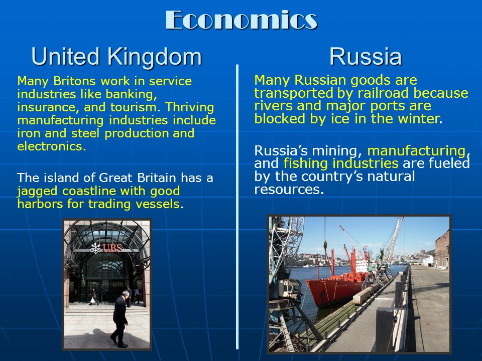 United Kingdom Russia Most Britons live in the lowland zone, where farming and England's major cities are located.