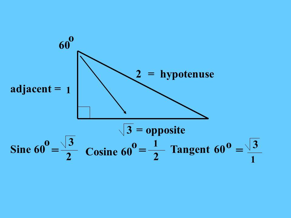 3 1 2= hypotenuse 60 adjacent = = opposite o Sine 60 o3 2 Cosine 60 1 == o 2 Tangent = 3 60 o 1