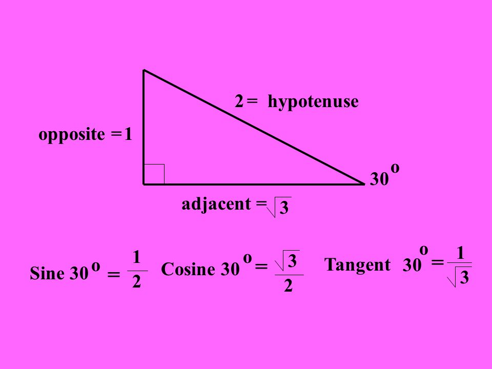 = hypotenuse2 adjacent = 1 3 opposite = Sine 30 o = 30 o 1 2 Cosine 30 o = 3 2 Tangent 30 o = 1 3