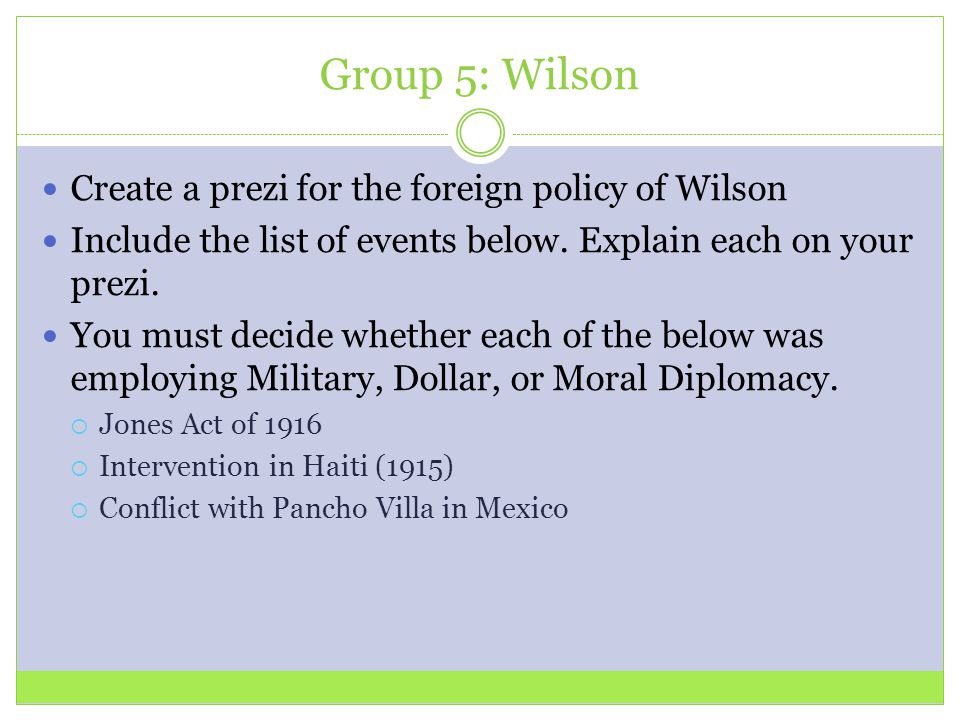 Group 5: Wilson Create a prezi for the foreign policy of Wilson Include the list of events below.
