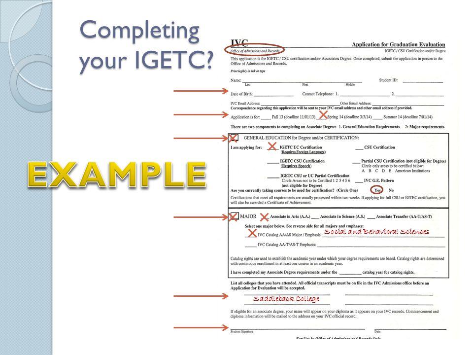 Completing your IGETC Social and Behavioral Sciences Saddleback College