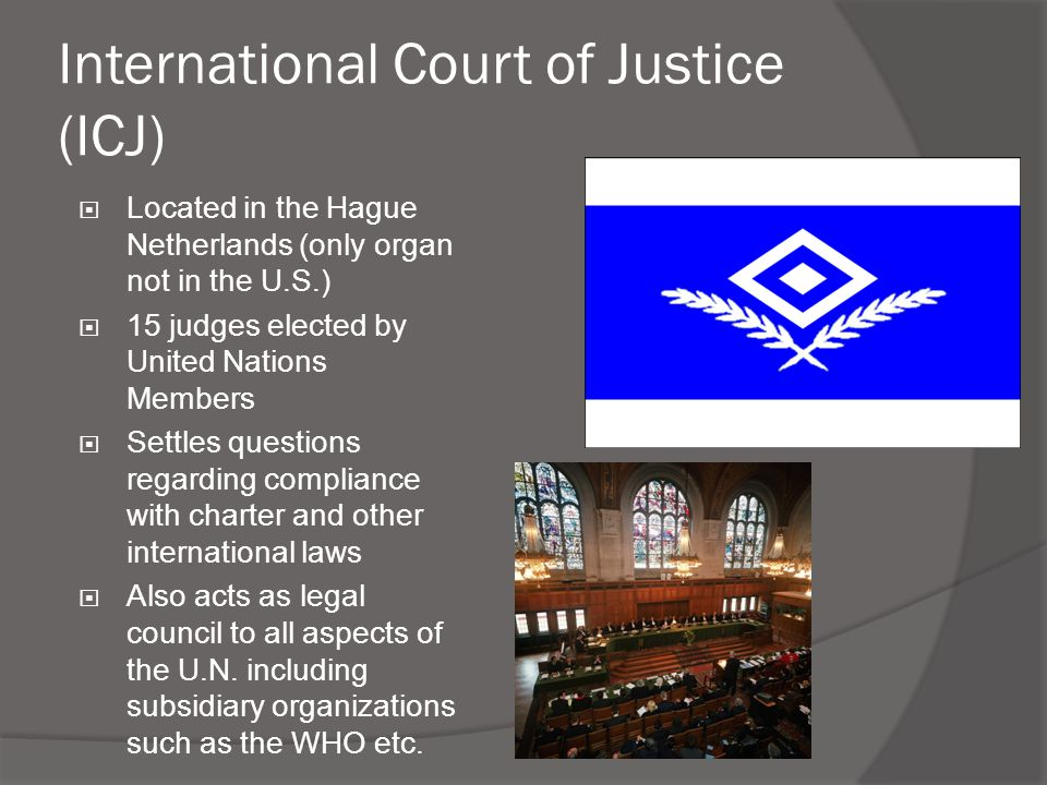 International Court of Justice (ICJ)  Located in the Hague Netherlands (only organ not in the U.S.)  15 judges elected by United Nations Members  S