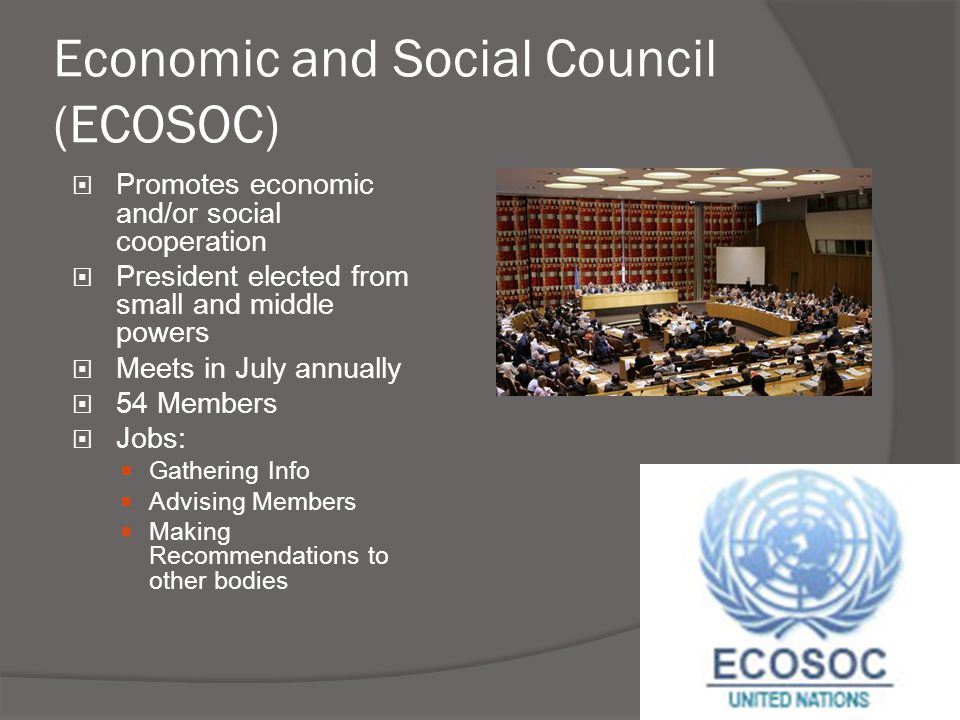 Economic and Social Council (ECOSOC)  Promotes economic and/or social cooperation  President elected from small and middle powers  Meets in July an