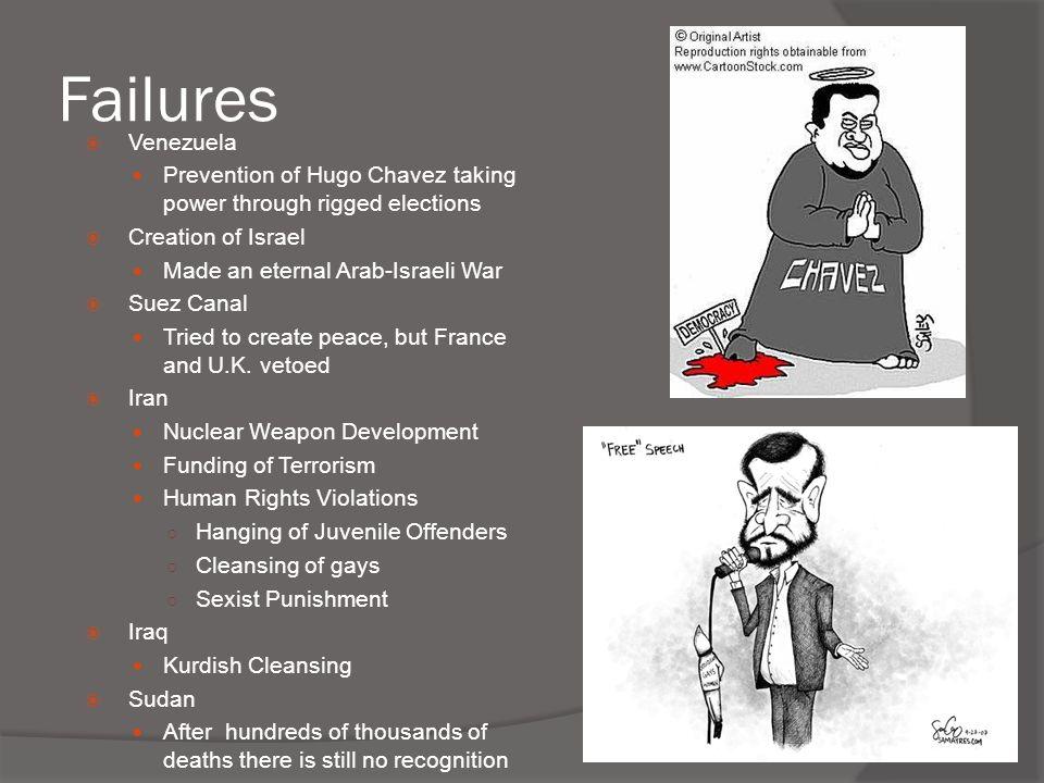 Failures  Venezuela Prevention of Hugo Chavez taking power through rigged elections  Creation of Israel Made an eternal Arab-Israeli War  Suez Cana