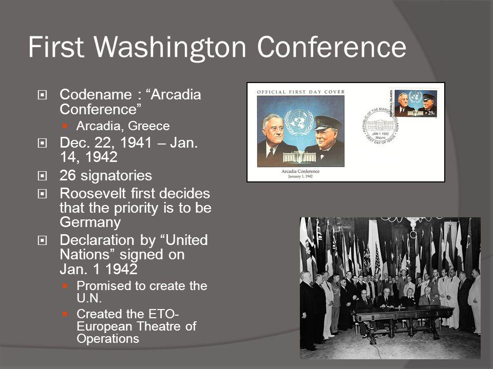 "First Washington Conference  Codename : ""Arcadia Conference""  Arcadia, Greece  Dec. 22, 1941 – Jan. 14, 1942  26 signatories  Roosevelt first dec"