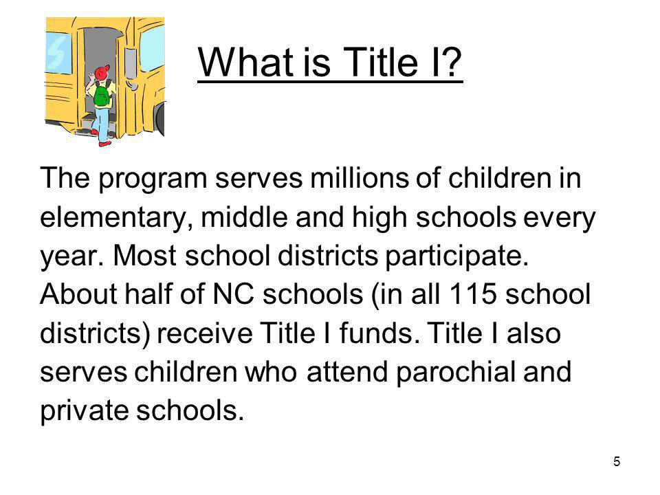 16 As a Parent You're Part of the Title I Team Title I can help make sure that you, your child and your school have a winning team!