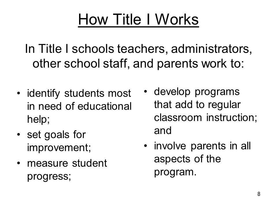 9 How Title I Works Title I schools usually offer: smaller classes; additional teachers and teacher assistants; additional training for school staff; extra time for instruction; a variety of teaching methods and materials; and workshops and classes for parents.