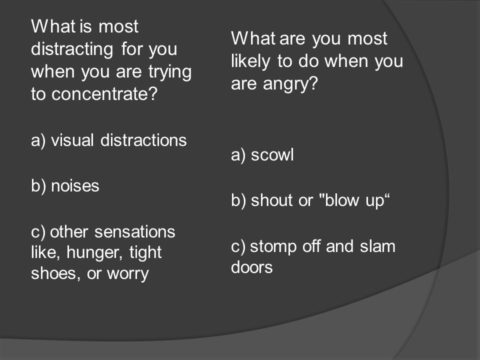 What is most distracting for you when you are trying to concentrate.