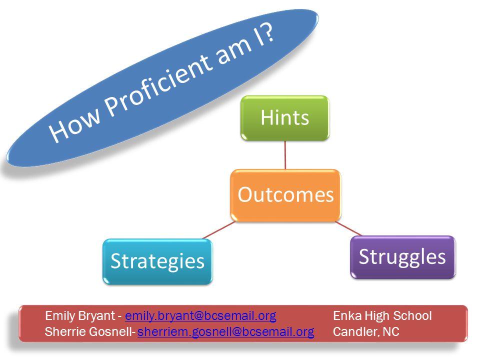 How Proficient am I? Emily Bryant - emily.bryant@bcsemail.org Enka High Schoolemily.bryant@bcsemail.org Sherrie Gosnell- sherriem.gosnell@bcsemail.org