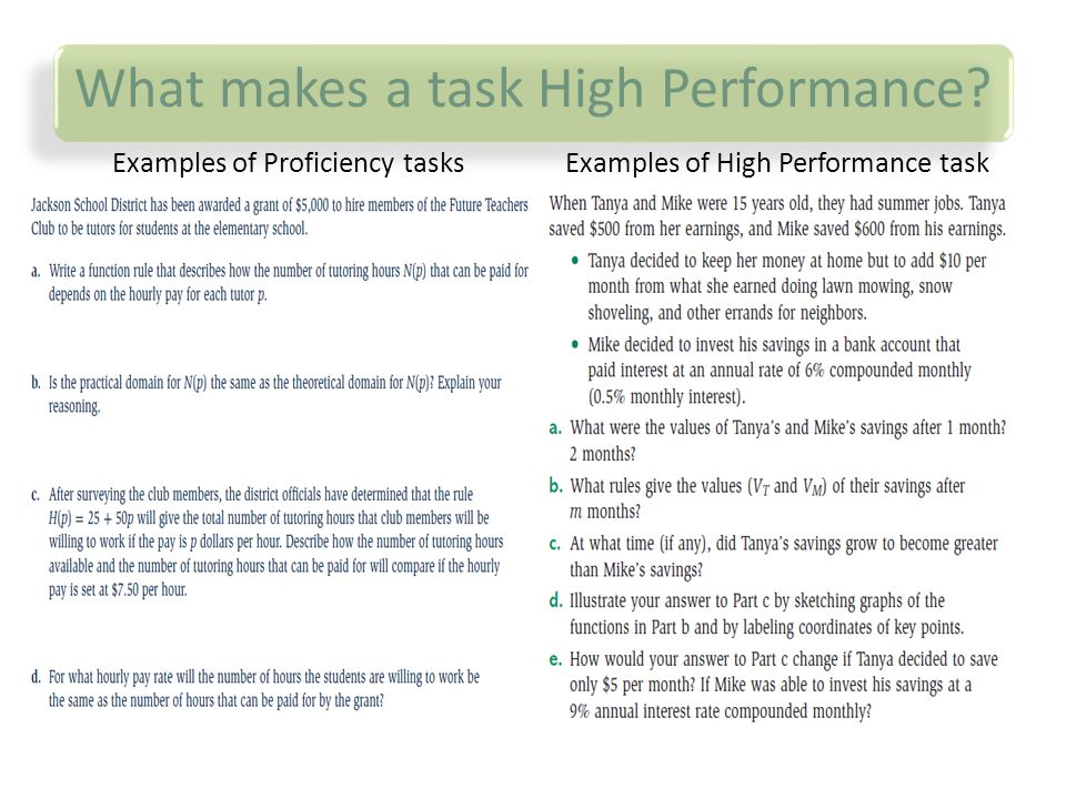 What makes a task High Performance? Examples of Proficiency tasksExamples of High Performance task