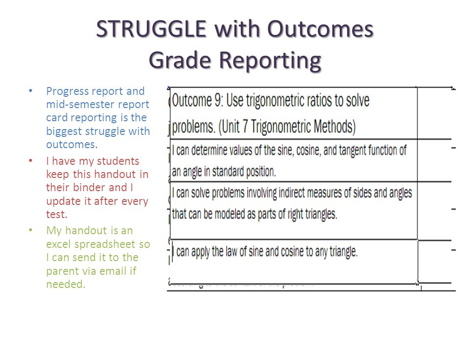 STRUGGLE with Outcomes Grade Reporting Progress report and mid-semester report card reporting is the biggest struggle with outcomes.