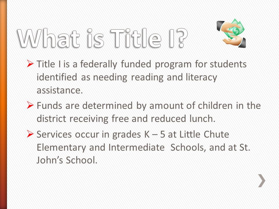  Title I is a federally funded program for students identified as needing reading and literacy assistance.