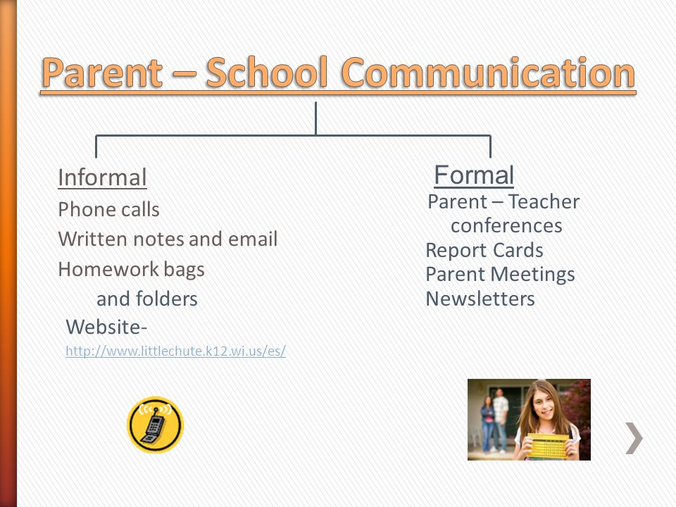 Informal Phone calls Written notes and email Homework bags and folders Website- http://www.littlechute.k12.wi.us/es/ Formal Parent – Teacher conferences Report Cards Parent Meetings Newsletters