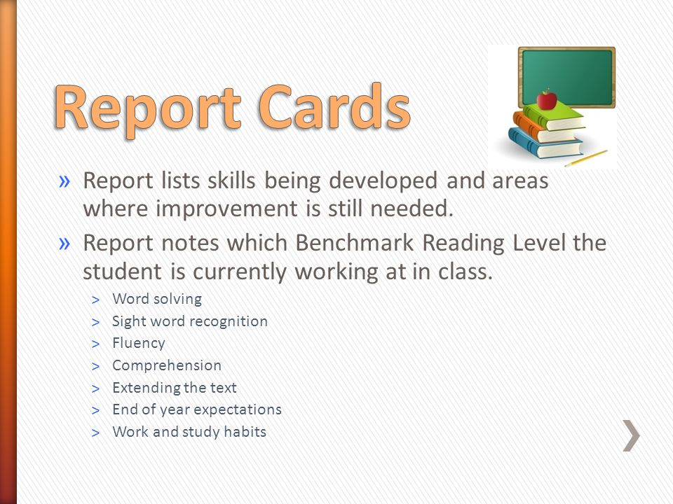 » Report lists skills being developed and areas where improvement is still needed.
