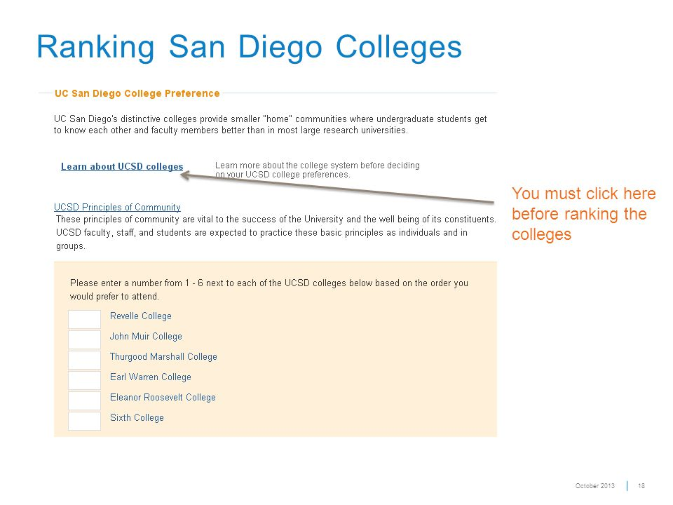 18 Ranking San Diego Colleges You must click here before ranking the colleges October 2013
