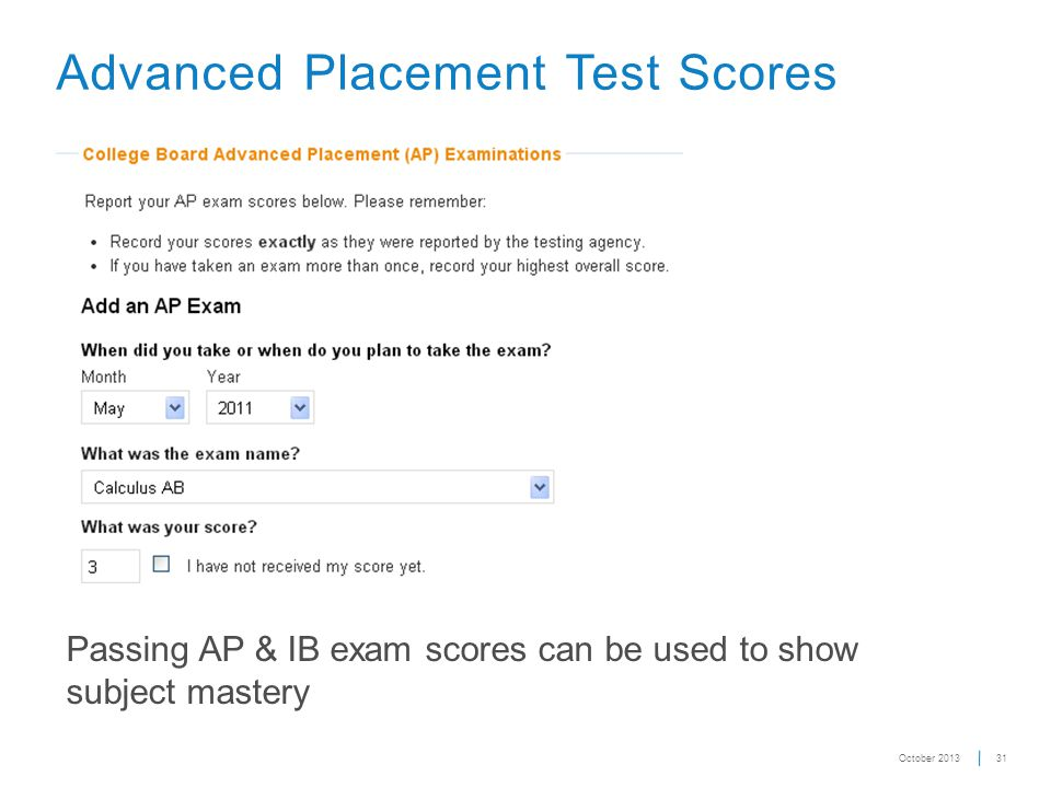 31 Advanced Placement Test Scores Passing AP & IB exam scores can be used to show subject mastery October 2013