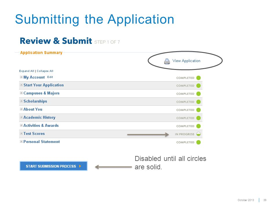 39 Submitting the Application Disabled until all circles are solid. October 2013