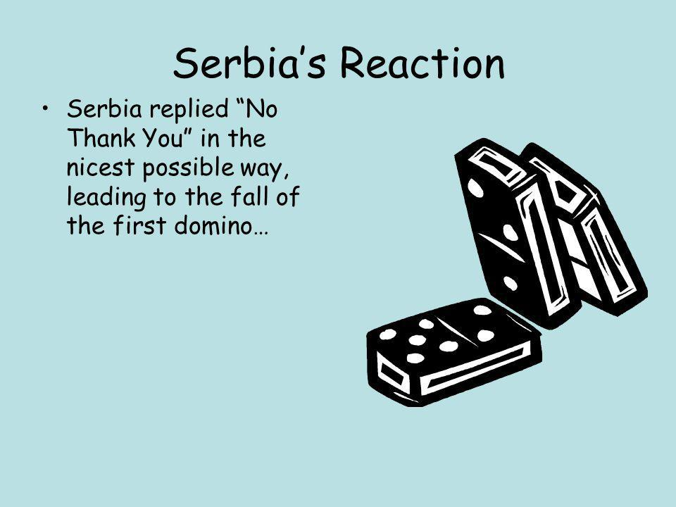 "Serbia's Reaction Serbia replied ""No Thank You"" in the nicest possible way, leading to the fall of the first domino…"
