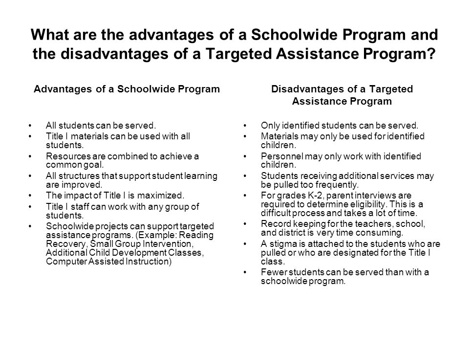 What are the advantages of a Schoolwide Program and the disadvantages of a Targeted Assistance Program? Advantages of a Schoolwide Program All student
