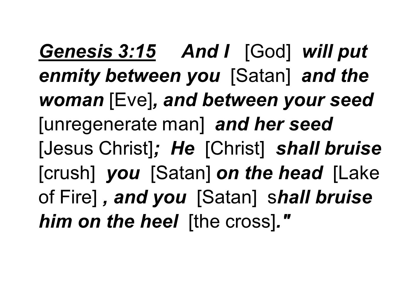 Genesis 3:15 And I [God] will put enmity between you [Satan] and the woman [Eve], and between your seed [unregenerate man] and her seed [Jesus Christ]; He [Christ] shall bruise [crush] you [Satan] on the head [Lake of Fire], and you [Satan] shall bruise him on the heel [the cross].