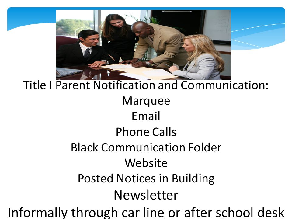 Title I Parent Notification and Communication: Marquee Email Phone Calls Black Communication Folder Website Posted Notices in Building Newsletter Informally through car line or after school desk