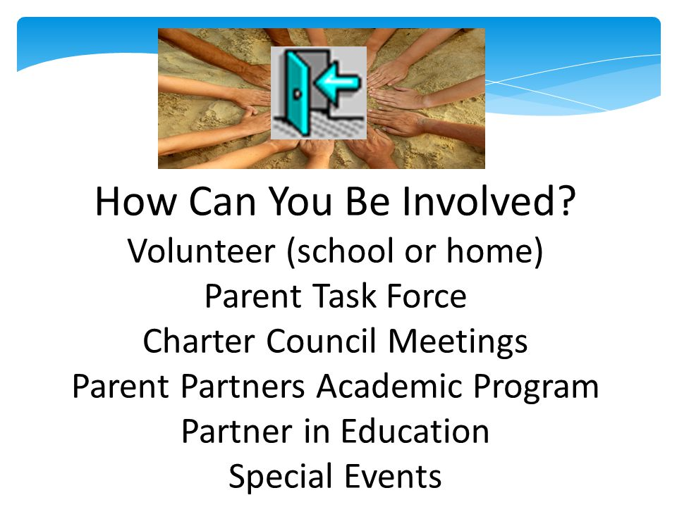 How Can You Be Involved? Volunteer (school or home) Parent Task Force Charter Council Meetings Parent Partners Academic Program Partner in Education S
