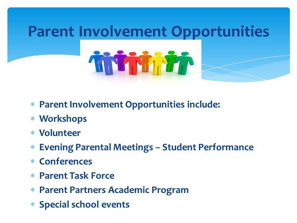  Parent Involvement Opportunities include:  Workshops  Volunteer  Evening Parental Meetings – Student Performance  Conferences  Parent Task Force  Parent Partners Academic Program  Special school events Parent Involvement Opportunities
