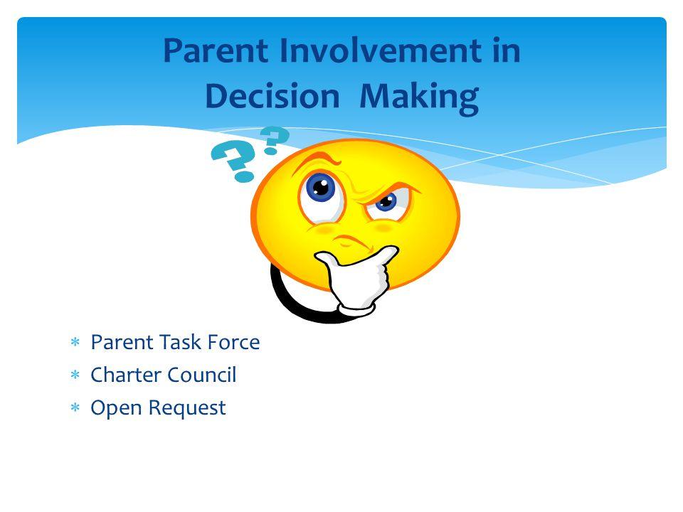  Parent Task Force  Charter Council  Open Request Parent Involvement in Decision Making
