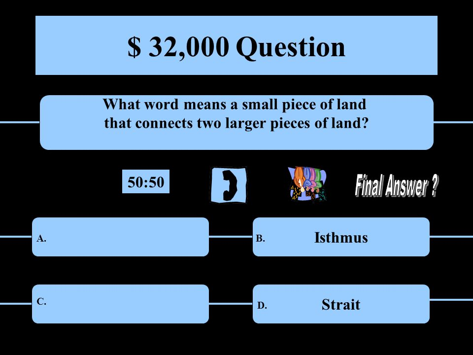 $ 32,000 Question What word means a small piece of land that connects two larger pieces of land.
