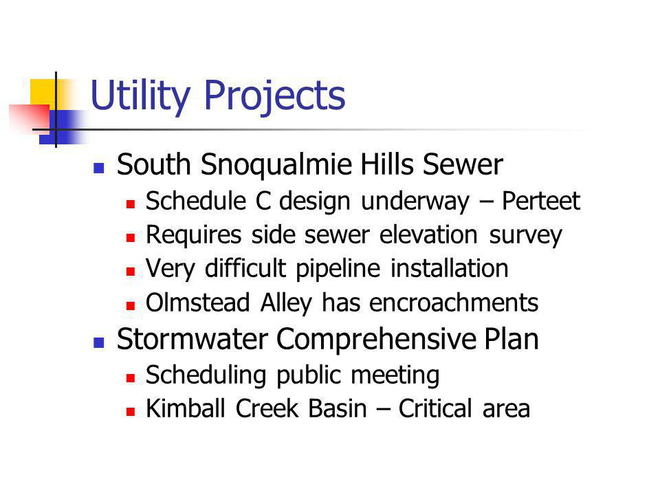 Utility Projects South Snoqualmie Hills Sewer Schedule C design underway – Perteet Requires side sewer elevation survey Very difficult pipeline installation Olmstead Alley has encroachments Stormwater Comprehensive Plan Scheduling public meeting Kimball Creek Basin – Critical area