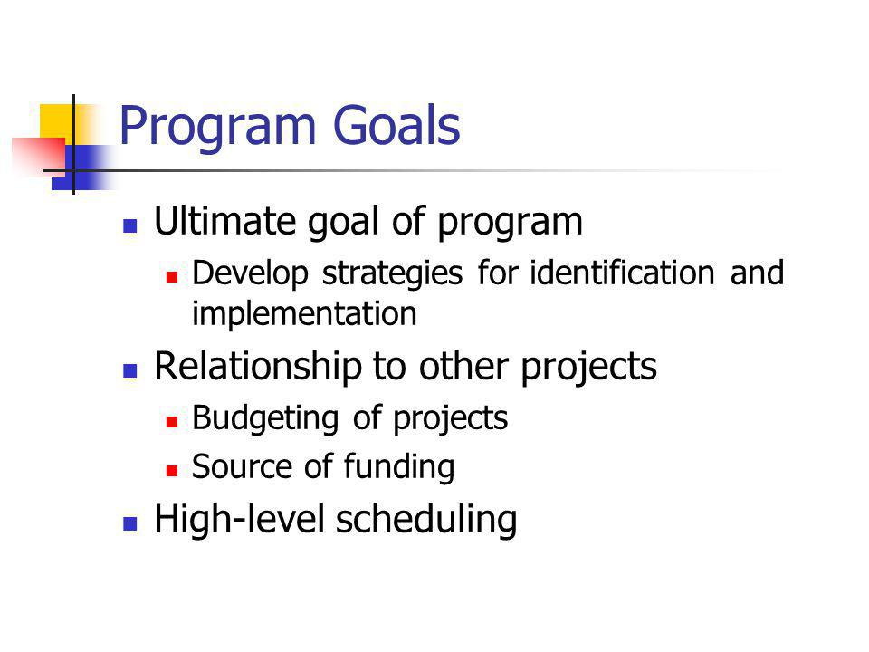 Program Goals Ultimate goal of program Develop strategies for identification and implementation Relationship to other projects Budgeting of projects Source of funding High-level scheduling