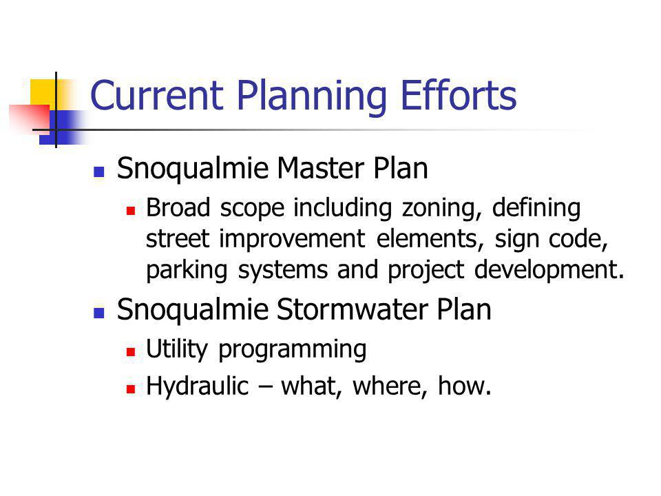 Current Planning Efforts Snoqualmie Master Plan Broad scope including zoning, defining street improvement elements, sign code, parking systems and project development.