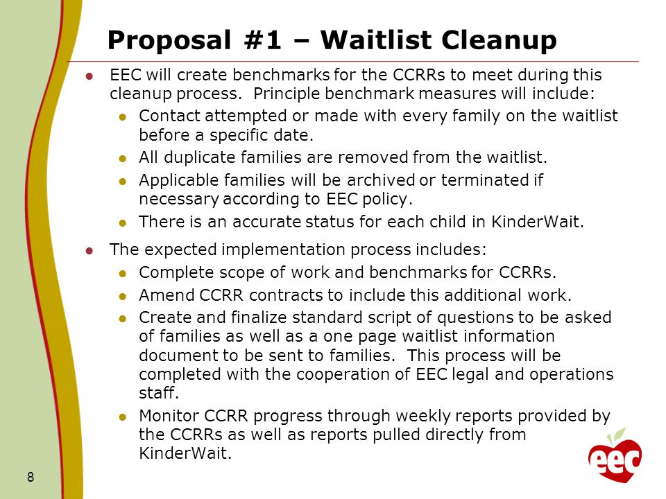Proposal #1 – Waitlist Cleanup The proposal provided to ANF does not address any changes to waitlist policies.