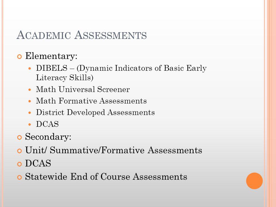 A CADEMIC A SSESSMENTS Elementary: DIBELS – (Dynamic Indicators of Basic Early Literacy Skills) Math Universal Screener Math Formative Assessments Dis