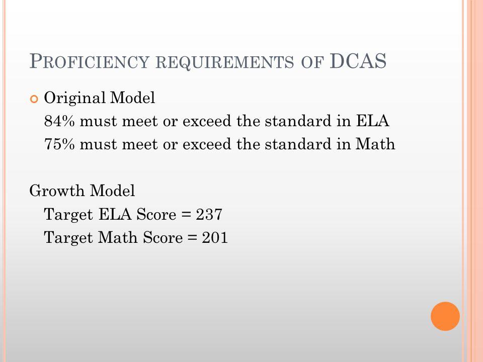P ROFICIENCY REQUIREMENTS OF DCAS Original Model 84% must meet or exceed the standard in ELA 75% must meet or exceed the standard in Math Growth Model Target ELA Score = 237 Target Math Score = 201