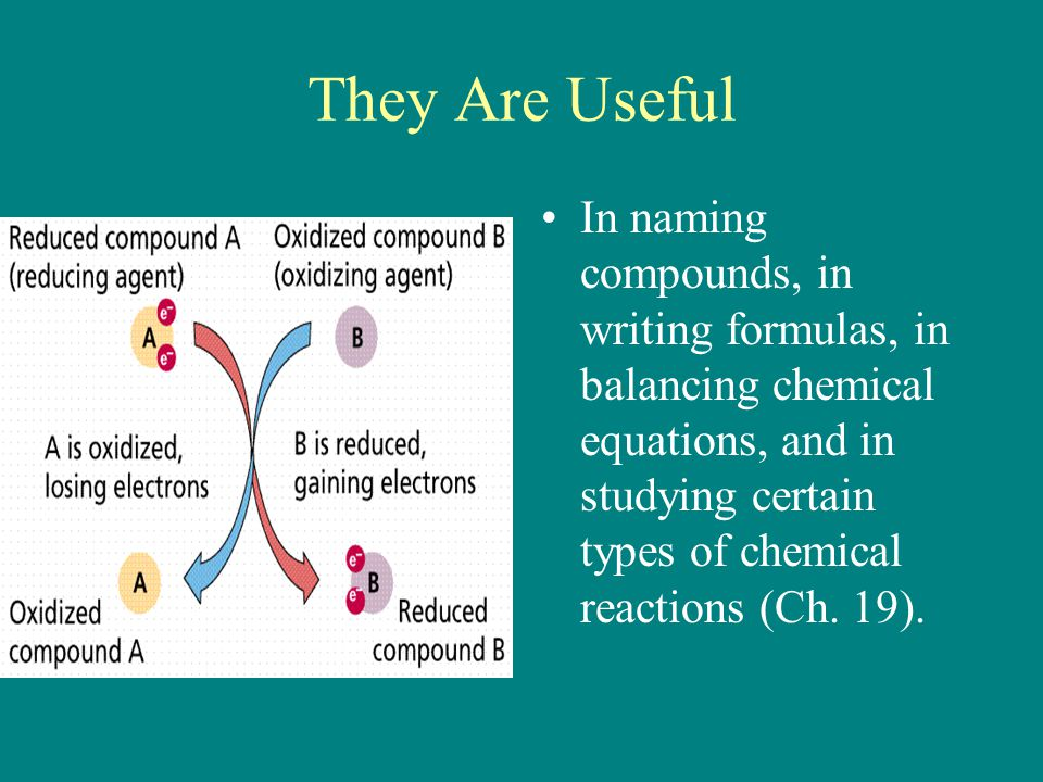 They Are Useful In naming compounds, in writing formulas, in balancing chemical equations, and in studying certain types of chemical reactions (Ch. 19