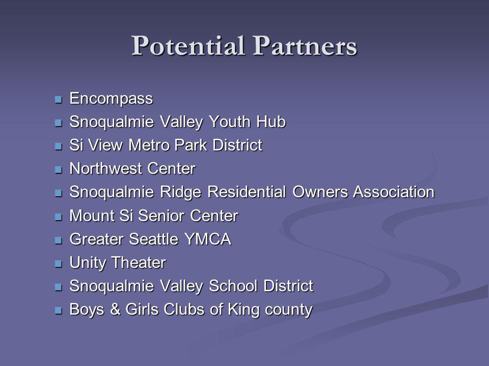 Potential Partners Encompass Encompass Snoqualmie Valley Youth Hub Snoqualmie Valley Youth Hub Si View Metro Park District Si View Metro Park District Northwest Center Northwest Center Snoqualmie Ridge Residential Owners Association Snoqualmie Ridge Residential Owners Association Mount Si Senior Center Mount Si Senior Center Greater Seattle YMCA Greater Seattle YMCA Unity Theater Unity Theater Snoqualmie Valley School District Snoqualmie Valley School District Boys & Girls Clubs of King county Boys & Girls Clubs of King county
